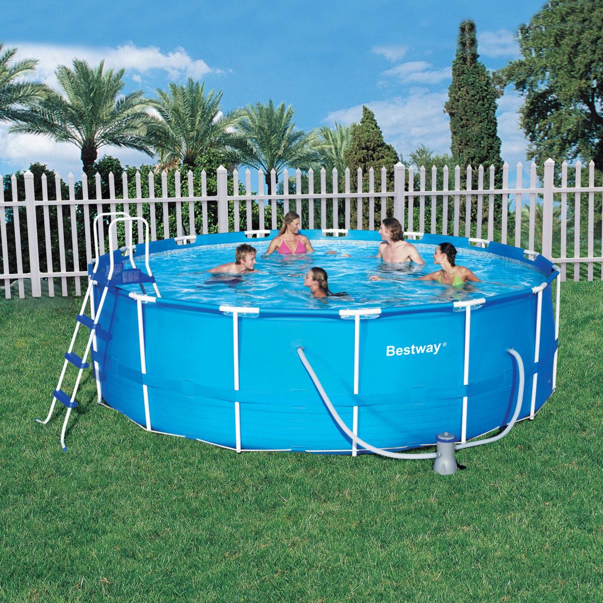 Каркасный семейный бассейн для дачи bestway 56438 457*122 см.