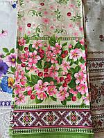 Кухонное полотенце льняное в украинском стиле, цветение вишни