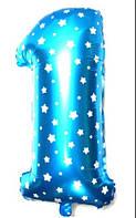 """Фольгированный шар Цифра """"1"""", Голубой, высота 65 см"""
