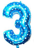 """Фольгированный шар Цифра """"3"""", Голубой, высота 65 см"""