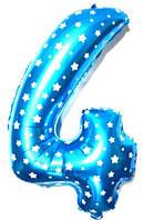 """Фольгированный шар Цифра """"4"""", Голубой, высота 65 см"""