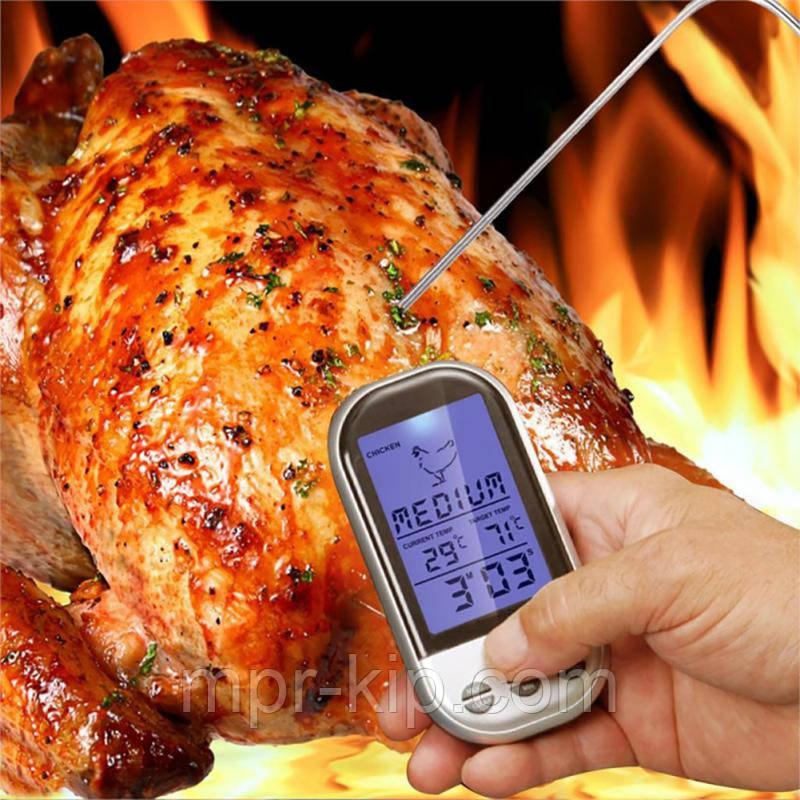 Бездротовий термометр (до 30 м) з щупом для приготування їжі YB414-SZ (0 до +250 °С) З ф-їй Будильник