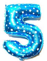 """Фольгированный шар Цифра """"5"""", Голубой, высота 65 см"""