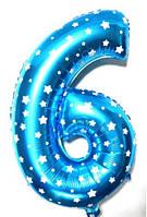 """Фольгированный шар Цифра """"6"""", Голубой, высота 65 см"""
