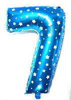 """Фольгированный шар Цифра """"7"""", Голубой, высота 65 см"""