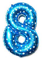"""Фольгированный шар Цифра """"8"""", Голубой, высота 65 см"""