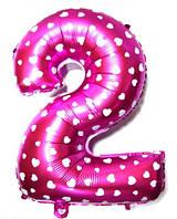 """Фольгированный шар Цифра """"2"""", Розовый, высота 65 см"""