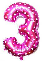 """Фольгированный шар Цифра """"3"""", Розовый, высота 65 см"""
