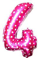 """Фольгированный шар Цифра """"4"""", Розовый, высота 65 см"""
