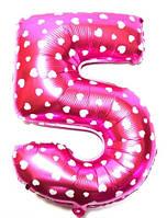 """Фольгированный шар Цифра """"5"""", Розовый, высота 65 см"""