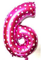 """Фольгированный шар Цифра """"6"""", Розовый, высота 65 см"""