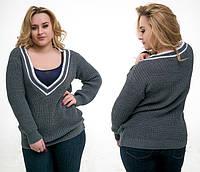 """Стильный вязанный женский свитерок до больших размеров """"Пуловер Полосы"""" в расцветках (DG-в90)"""