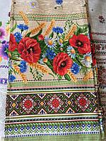 Кухонное полотенце льняное в украинском стиле с маками и колосками, яркое кухонное полотенце