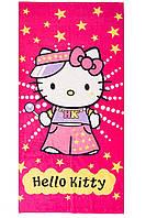 Пляжное полотенце Hello Kitty вид 2 розовое  велюр-махра Турция