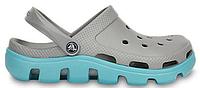 Женские кроксы Crocs Duet Sport Clog серые/голубые
