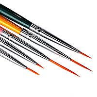 Набор кисти-лайнер 5 шт. цветные, разных размеров , фото 1