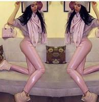 Лосины женские кожа бледно-розовые, светло-серые