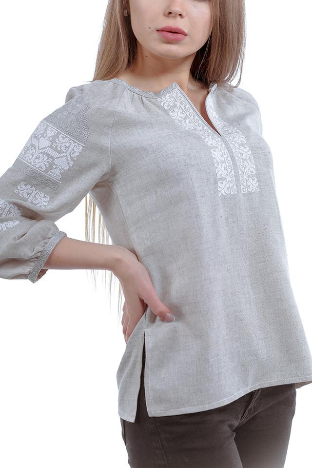 af7726766e35 Серая блуза, украшенная изысканной вышивкой, станет прекрасным дополнением  к вашему гардеробу. Символ чистой энергии, белая вышивка крестиком, ...