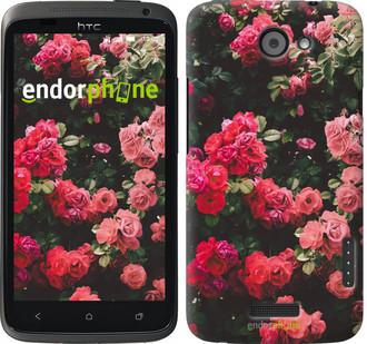 """Чехол на HTC One X Куст с розами """"2729c-42"""""""