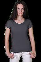 Однотонная женская футболка темно-серая