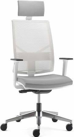Офисное кресло с подголовником спинка сетка белая PLAY white