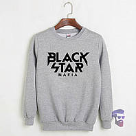 Свитшот мужской серый Black Star Mafia Блек Стар