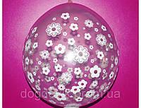 """Воздушные шарики """"Цветочки"""" прозрачные кристалл для подарков 18"""" (45 см). Шар упаковщик"""
