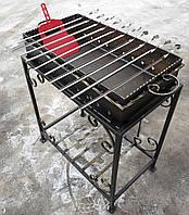 Мангал кованый садовый на 10 шампуров сталь 2 мм (Жаровня + стойка)