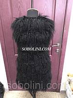 Жилет из меха тибетской ламы, цвет черный, длина 80 см