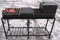 Мангал кованый с печкой на 18 шампуров (жаровня + стойка) сталь 4 мм                               , фото 1