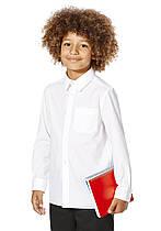 Школьная рубашка белая с длинным рукавом на мальчика 5-6-7-8 лет Easy to Iron F&F (Англия)