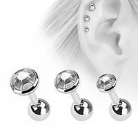 Серьги (набор 3 шт.) для украшения пирсинга ушей. Медицинская сталь, прозрачные кристаллы.
