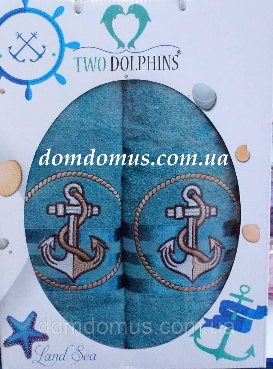 """Подарочный набор махровых полотенец """"Якорь"""" TWO DOLPHINS, синий"""