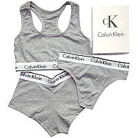 Женский комплект тройка с шортами Calvin Klein серый