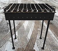 Мангал кованый садовый разборной на 10 шампуров сталь 2 мм                                      , фото 1