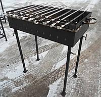 Мангал кованый садовый разборной на 10 шампуров сталь 4 мм