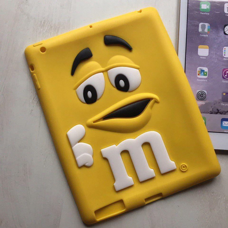 Силиконовый жёлтый чехол M&M's для iPad 2/3/4