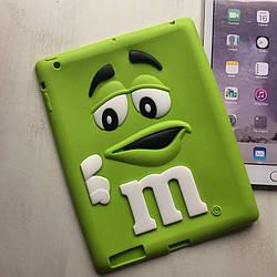 Силиконовый салатовый чехол M&M's для iPad 2/3/4