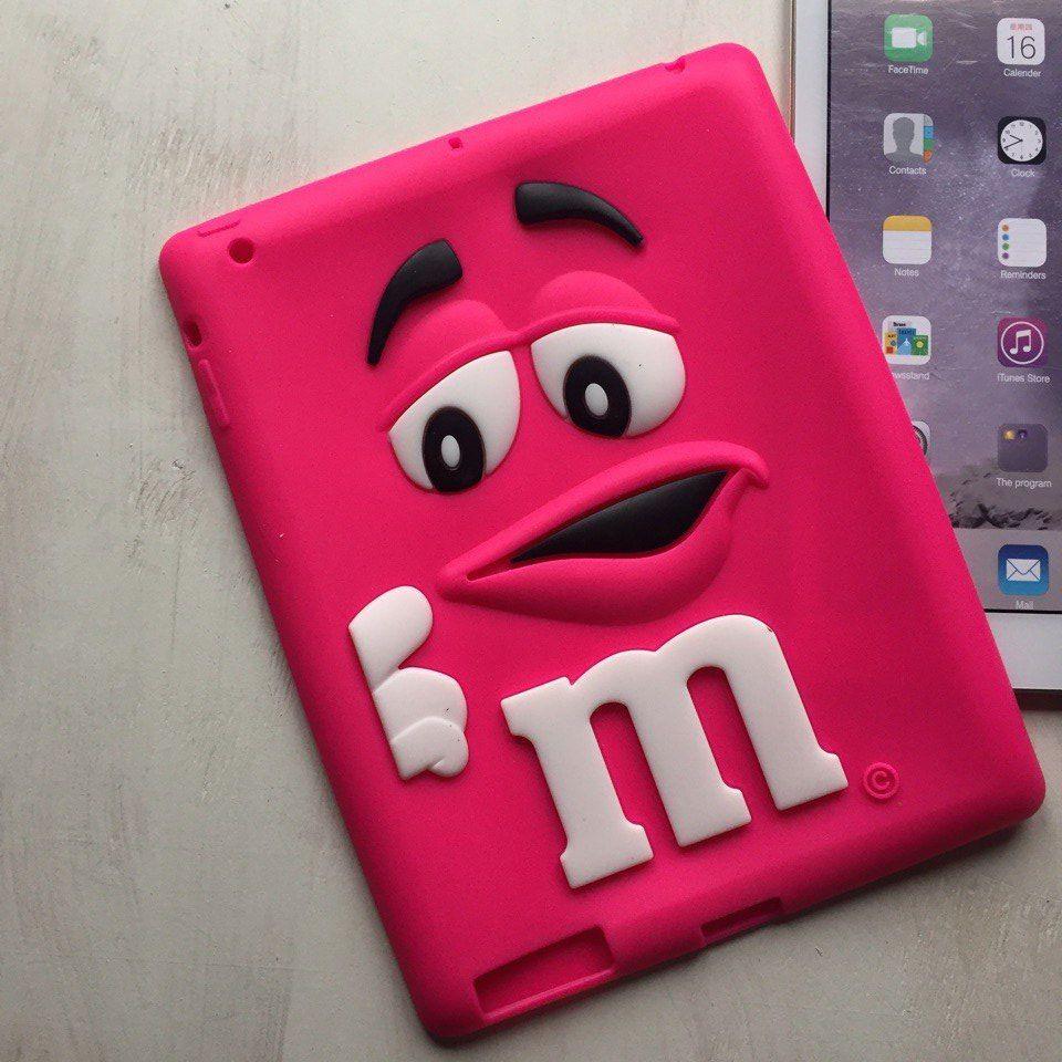 Силиконовый розовый чехол M&M's для iPad 2/3/4