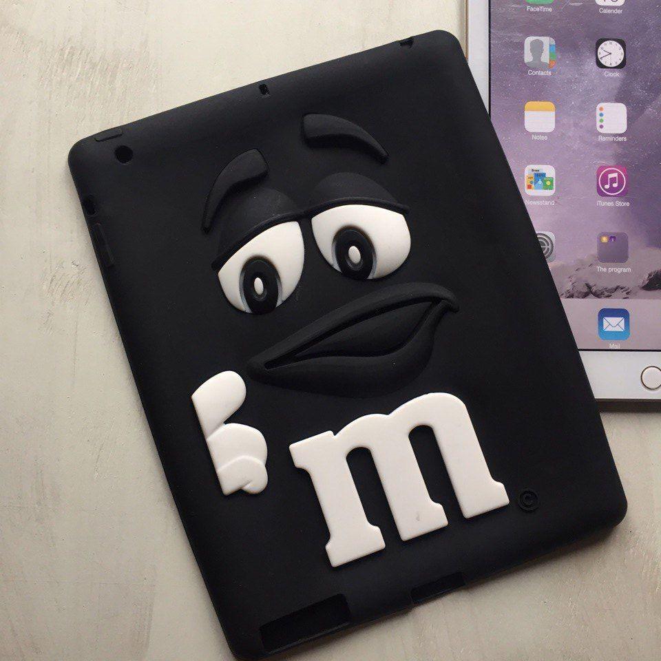 Силиконовый чёрный чехол M&M's для iPad 2/3/4