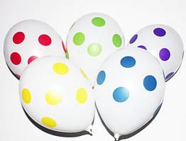 """Воздушные шарики Полька белая шелкография 12"""" (30 см) Gemar"""