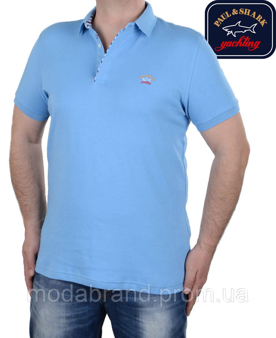 5d21d90a0537 Футболка мужская поло Paul Shark-003,голубая -