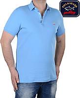 Футболка мужская поло Paul Shark-003,голубая