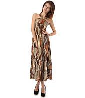 Платье сарафан в пол коричневое