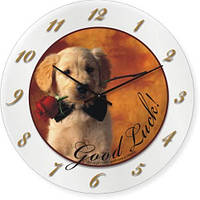 Часы настенные из стекла - щенок с бабочкой ( немецкий механизм)