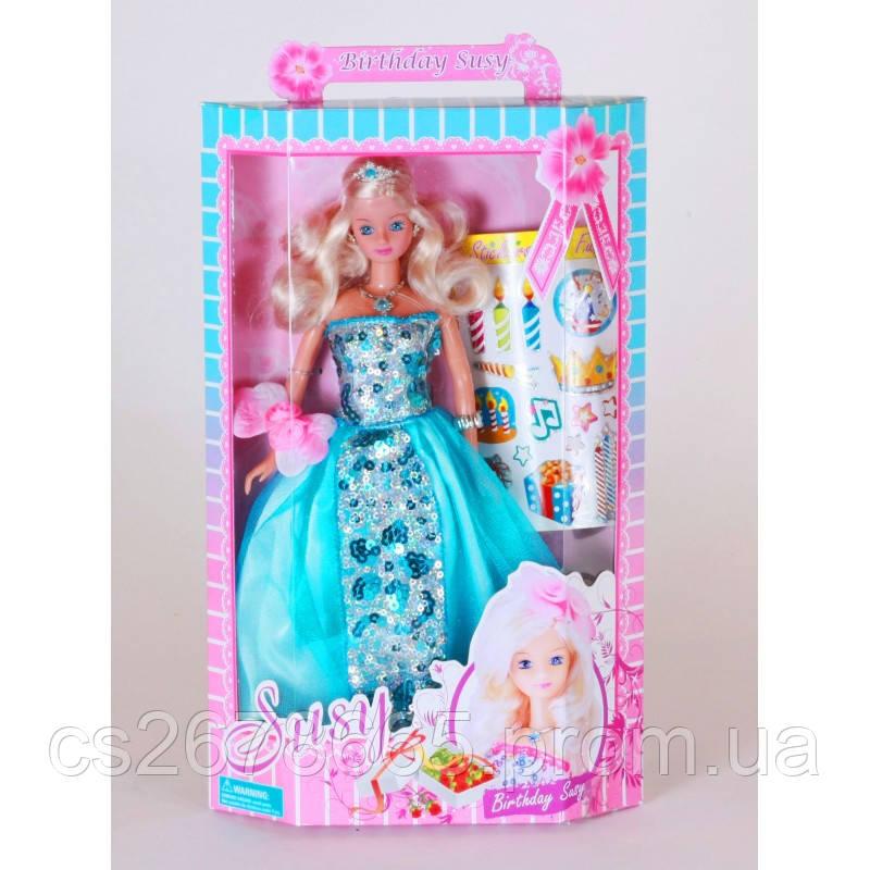 """Кукла Сьюзи """"Именинница"""" 1007WBX блондинка, с наклейками"""