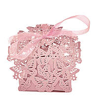 Ажурная бонбоньерка с бабочками (маленькая коробочка для конфет) (цвет: персик(розовый)