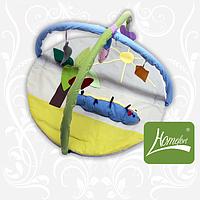 """Симпатичный игровой коврик """"Гусеница"""" с дугами и подвесными игрушками для малыша (140х90 см) ТМ Хомфорт"""