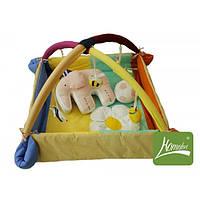 """Симпатичный игровой манеж """"Непоседа. Слоник с мячиком"""" с дугами и подвесными игрушками для малыша (127х127см) ТМ Комфорт"""