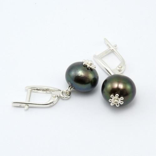 Серьги - натуральный черный жемчуг, серебро